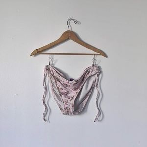 Pastel Pink Floral Berry Bikini Bottoms Side Ties